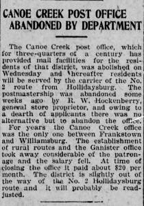 Canoe Cr Post office Alt_Trib_Fri__Nov_17__1922_